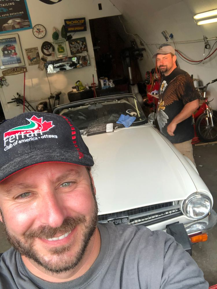 Corey and Tim freshening up the '76 TR6