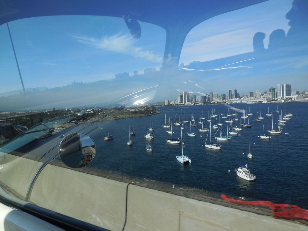view while crossing Coronado Bay Bridge (note artsy refection)