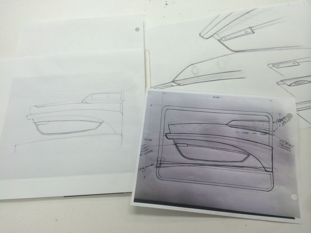 Initial Concept Sketches for Updated Door Panels