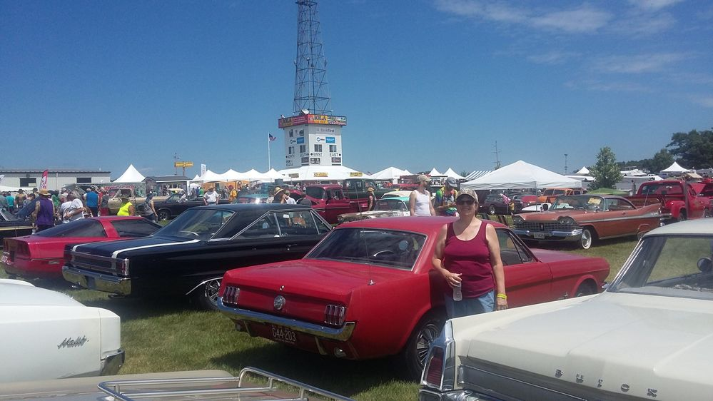 66 Mustang 2019 Diann and our Mustang in Iola Car Show a.jpg