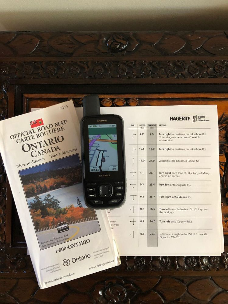 Official Government of Ontario map, GPSMAP 66s and rally notes ready to go.