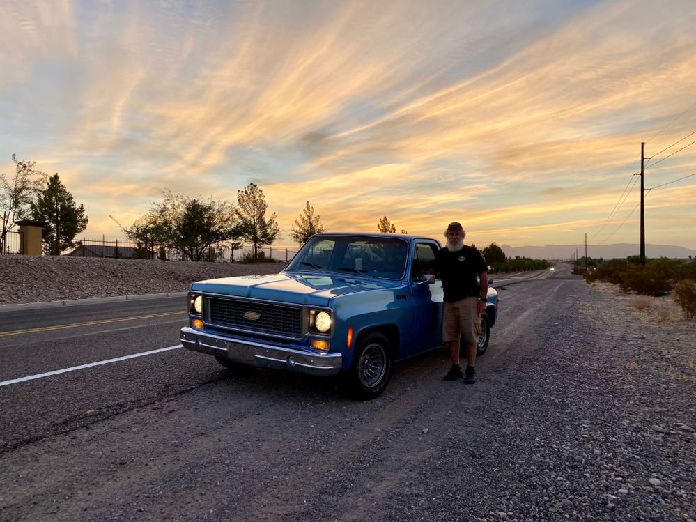 Early morning drive in my 1974 Chevy step-side truck.